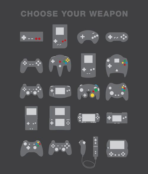 Choose your weapon. I want this print in a game room.