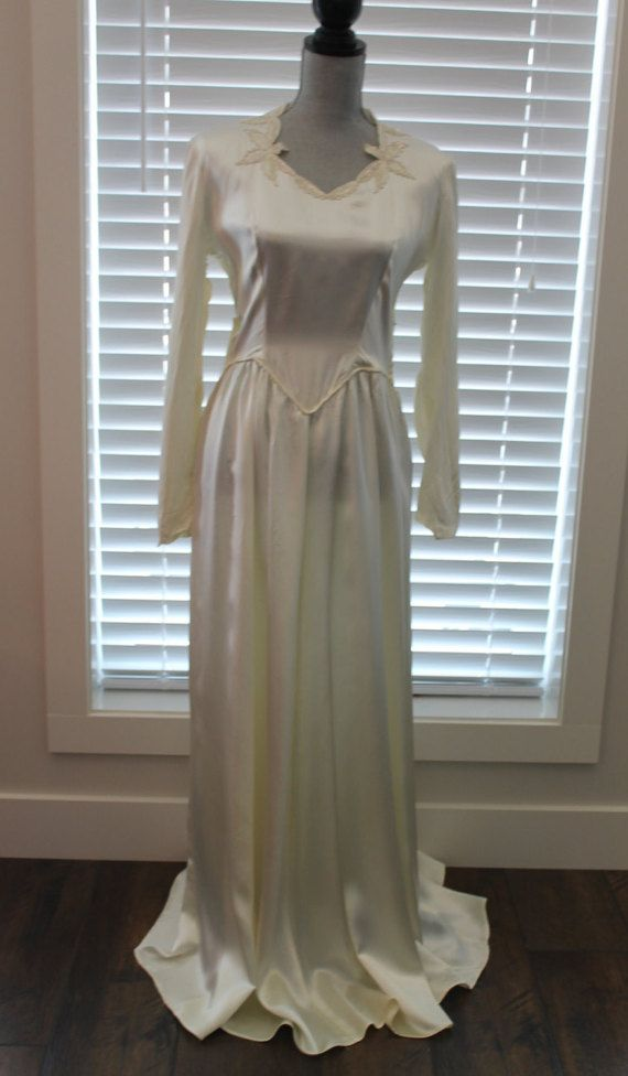 Vintage Ivory Satin 1940's Wedding Gown with by FunkieFrocks