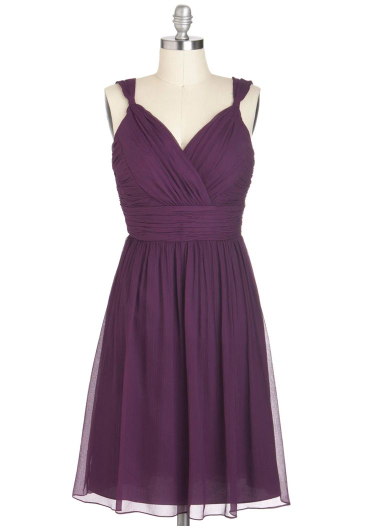 Plum-thing Special Dress - Purple, Solid, Wedding, Party, A-line, Sleeveless, Ruching, Long, Holiday Party