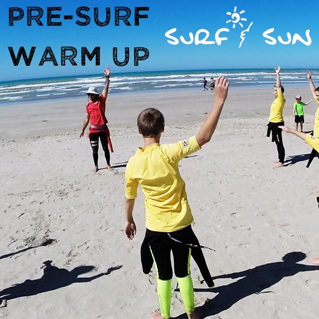 It's always important to warm up your muscles before you hit the surf!