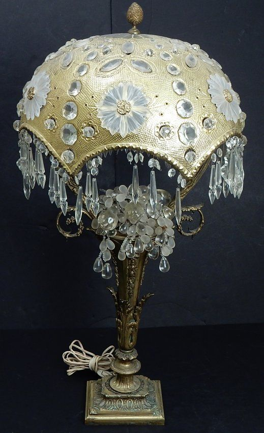 Victorian Bronze And Crystal Dome Lamp On Antique Lamps