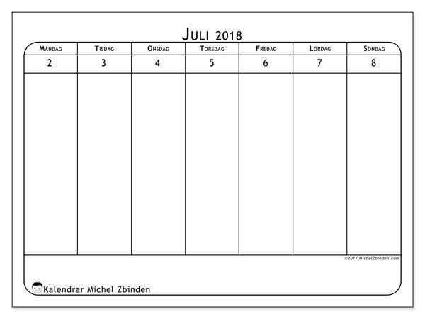 Kalender juli 2018 (43-1MS). Kalender för gratis utskrift.
