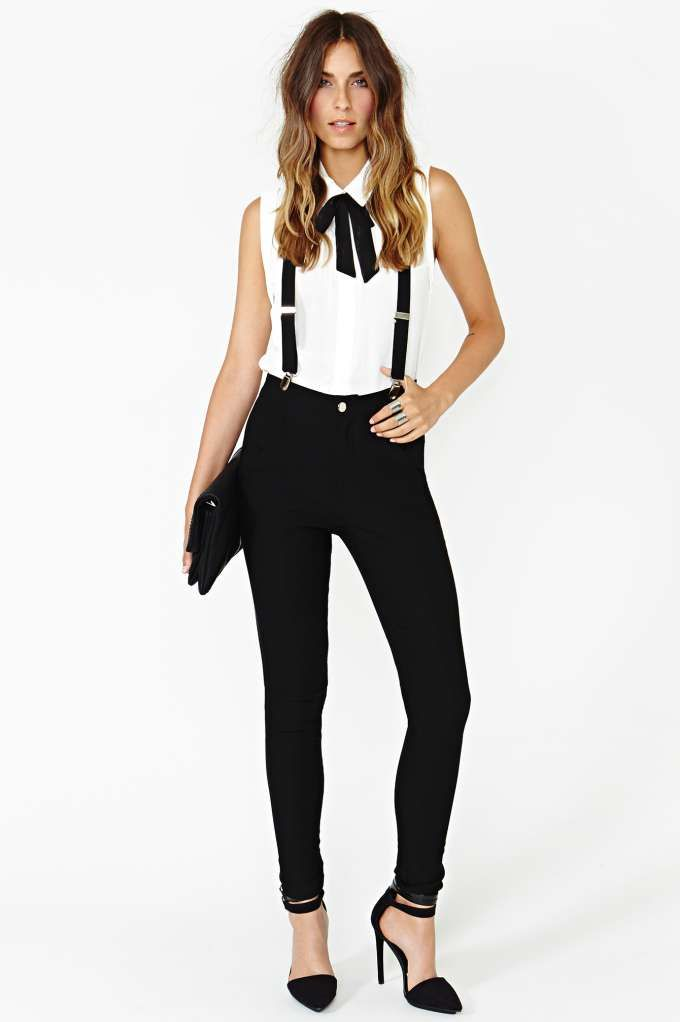suspenders! Alexa Chung would be proud. Nasty Gal Riot Maker Suspender Pant.