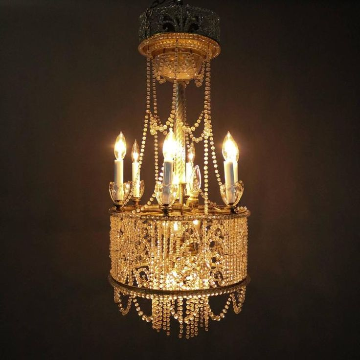 Antique French Art Nouveau Crystal Bead Wedding Cake Style Chandelier 2