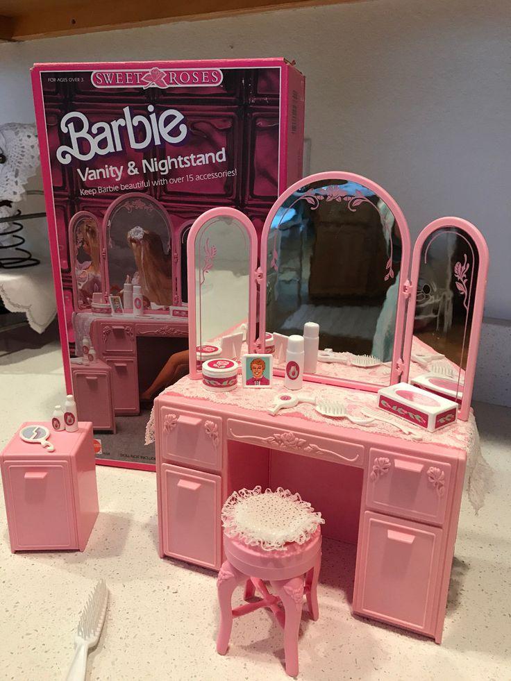 Vintage Barbie Sweet Roses Vanity & Nightstand, vintage 1987, Mattel Brand