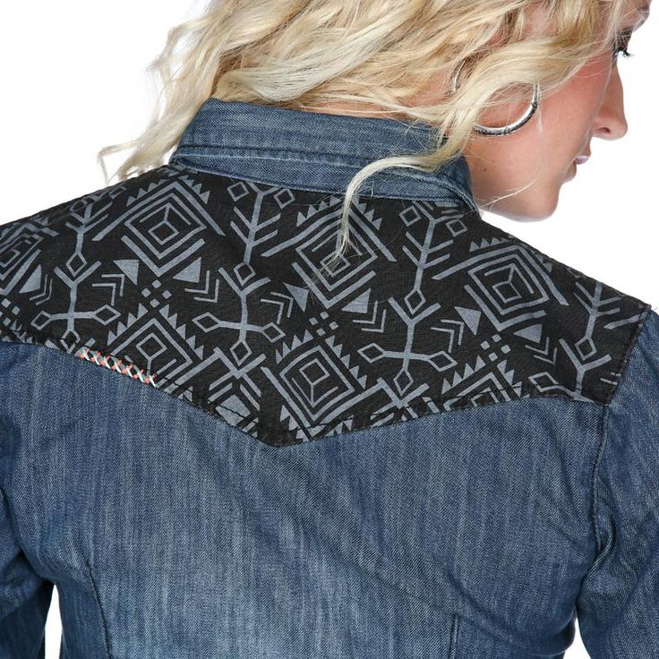 Women's Cruel Girl Aztec Yoke Denim Top