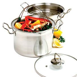Four-piece stainless steel steamer and cooker set.Product: (1) Stockpot(1) Steamer(1) Colander (1) Vented tempered glass lidConstruction Material: Stainless steelColor: SilverFeatures: Perfect for shellfish, pasta, vegetables, sauces and blanching    Note: Uniform heating avoids hot spots that can scald and ensure quick, efficient heat conductivityCleaning and Care: Hand washing recommended