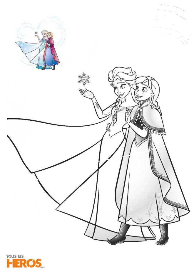 Coloriage La Reine Des Neiges Avec Les Soeurs Elsa Et Anna Dans Leurs Belles Robes Coloriage Reine Des Neiges Coloriage Disney Coloriage