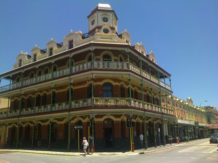 This is the National Hotel in Fremantle. It was closed for many years, but is now open again  for business.