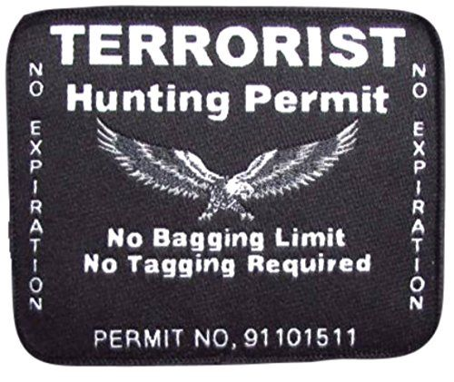 """[Single Count] Custom, Cool & Awesome {3 1/4"""" by 2 3/4"""" Inches} Rectangle Patriotic US Armed Forces Terrorist Hunting Permit US Badge (Tactical Type) Velcro Patch """"White & Black"""" mySimple Products"""