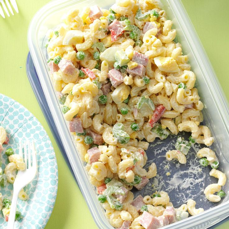 """Easy Macaroni Salad Recipe -""""This hearty noodle salad is sure to please appetites of all ages...and it serves lots!"""" LaVerna Mjones notes from Moorhead, Minnesota."""
