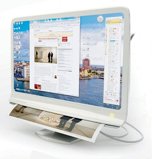 The Combi Monitor Lets You Print Your Screen, Literally! The sleek design of the aptly-named Document Extractor Combi Monitor puts touch-screen controls, paper scanning, and smart screen printing harmoniously into one computer body.