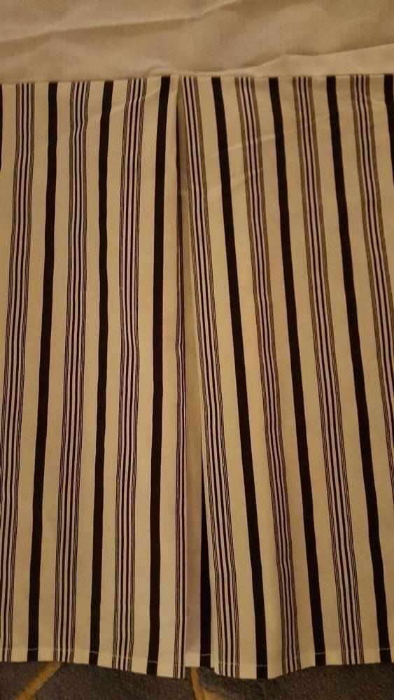 Lauren Ralph Lauren King Bed Skirt Black Ivory Striped Pleated