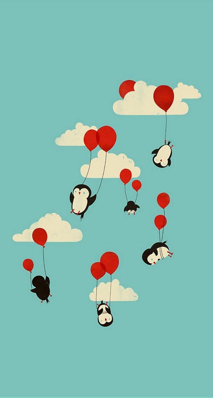 Penguin Balloon retro wallpaper - @mobile9