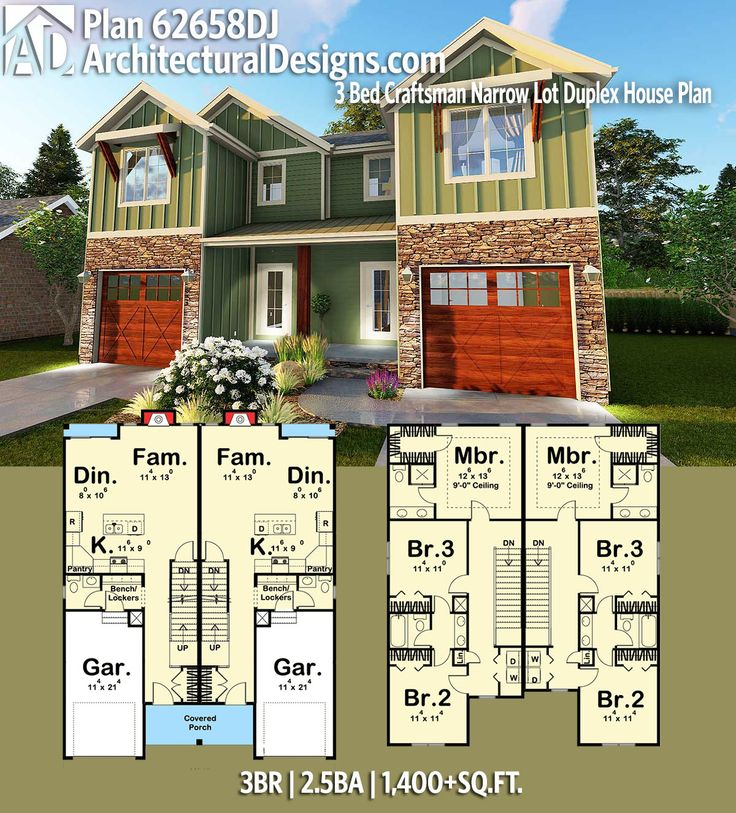 Plan 62658DJ 3 Bed Craftsman Narrow Lot