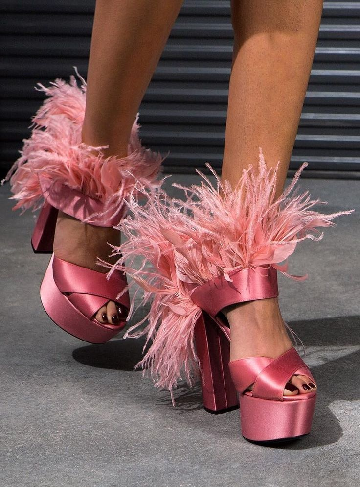 Prada Feather-Trim Satin Platform Sandals