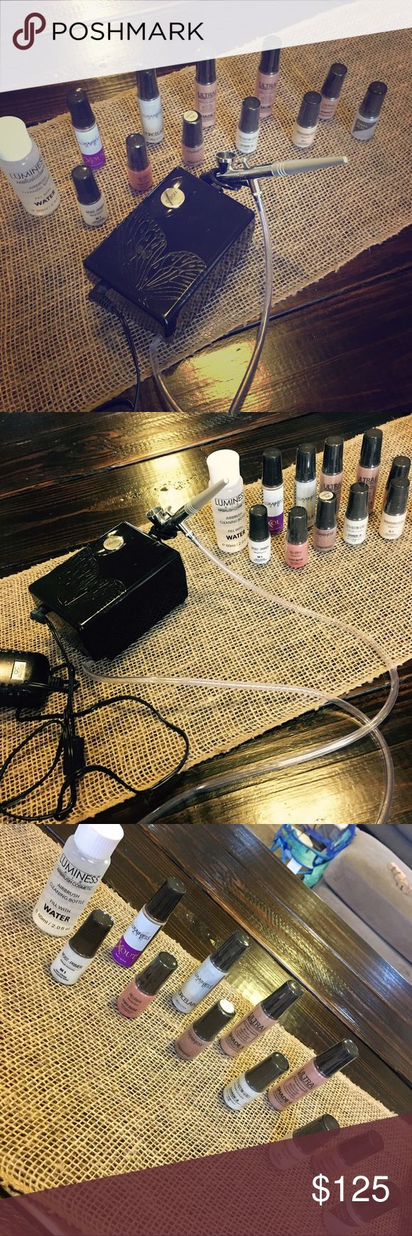 Luminess Air 3 Speed Pro System (NWOT, tried once) Effortlessly achieve pro quality, airbrushed perfection results at home with this airbrush cosmetics system. The 3-speed Pro is designed with 3 pre-programmed air speeds: Light for eye shadow and eyebrow application, Medium for face and neck application and High for full body application. Kit Includes:3-Speed Pro Compressor,Technique Stylus,AC Adaptor,4-0.25oz Ultra foundation,1-0.25oz Blush,1-0.25oz Skin Brightening Glow,1-0.25oz…
