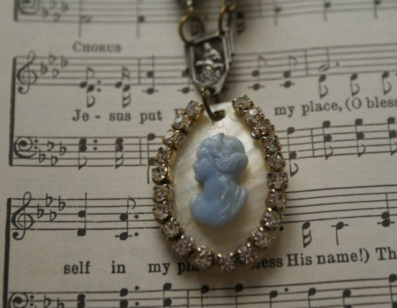Mother of Pearl Cameo Necklace with Vintage by LoveYouMoreDesigns, $32.50