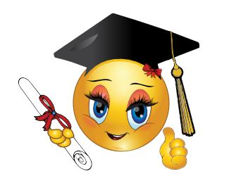 When congratulations are in order for a happy graduate, you can share this smiley.