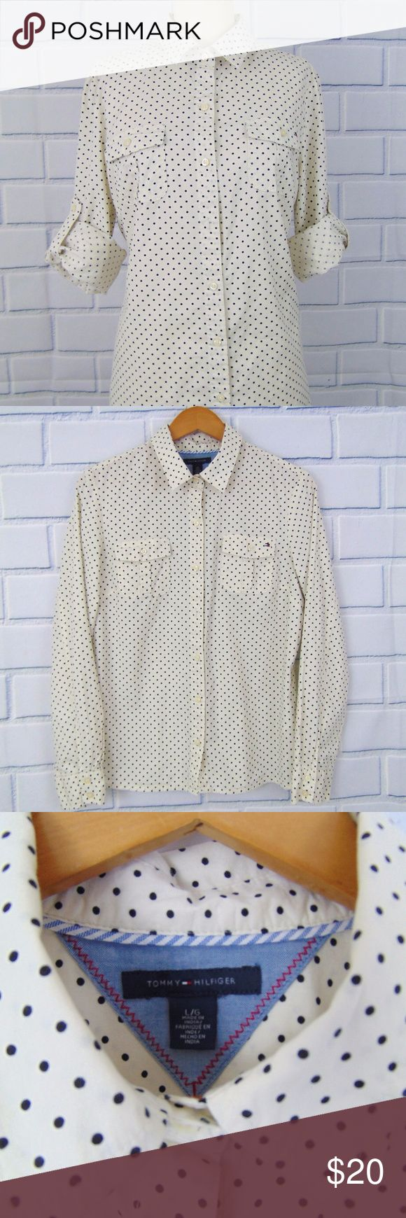 """NWOT Tommy Hilfiger Polka Dot Long Sleeve Top - L Pretty Tommy Hilfiger Polka Dot Long Sleeve Shirt  Off White and Black  Button Front  Collar  Darts in Bust Long Sleeves Roll Tab Chest Pocket  100% Cotton Fabric  New without Tags. No defects or flaws See images.  Measurements (laid flat, unstretched): Shld-to-shld: 15.5"""" Chest 19.5"""" Length 25.5"""" Sleeves 24"""" Waist 19"""" Hem 21.5"""" Material Stretch? yes  Questions? Offers Welcome. Item ships out the next day. Tommy Hilfiger Tops Button Down…"""