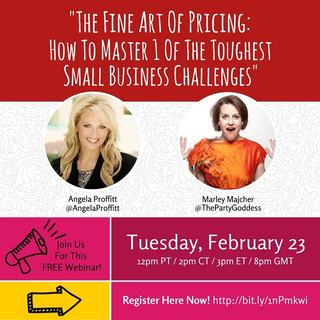 """Join me, #ProductivityTherapist & Marley Majcher, #ThePartyGoddess for a great #pricing & #productivity #webinar """"The Fine Art Of Pricing: How To Master 1 Of The Toughest Small Business Challenges""""! Register here for this FREE webinar #girlboss #makersgonnamake #profit #meetingprofs #eventprofs #startup #entrepreneur #success #smallbiz #smallbusiness #business #startup #leadership #innovation #eventprofs #weddingplanner #wisdom #instalike please #retweet #WEBINAR SIGN UP PAGE!"""