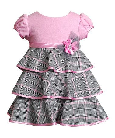 Look what I found on #zulily! Pink Windowpane Rosette Tiered Dress - Infant #zulilyfinds