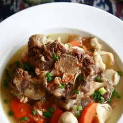 Indonesian Ox Tail Soup - Don't let the clean and clear broth fool you. It's bursting with flavors