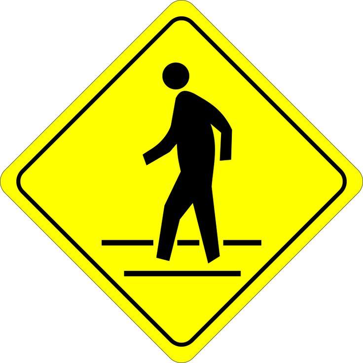 Crossing By Algotruneman   Pedestrian In Crosswalk   Caution Road Sign