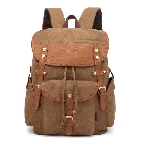 Canvas Outdoor Travel Backpack Rucksack Shoulders Bag for Men and Women