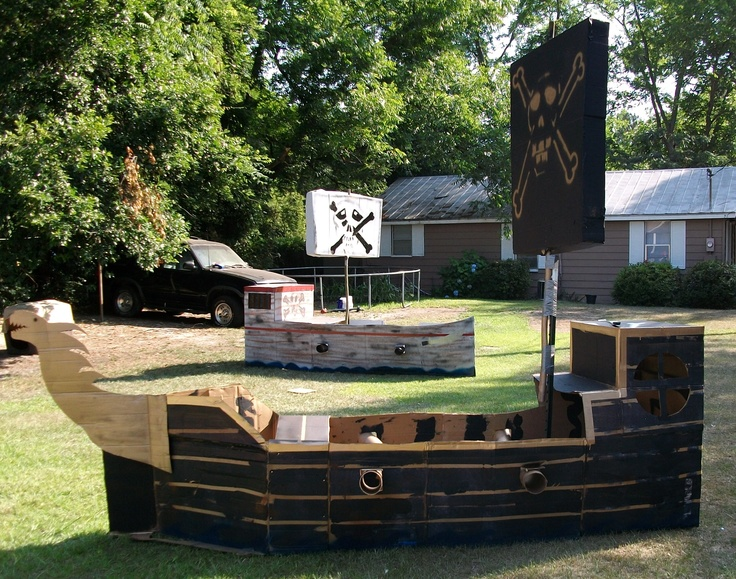 Pirate Ship made from large cardboard boxes. Made these for my son's 7th bday party.