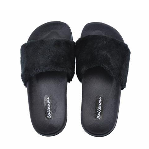 cb4abacbf9e21  EBay  Bailehou New Fashion Footwear Women Flat Slippers Soft Fur Slip  Slides Indoor Outdoor Slippers Casual Flat Platform Shoes Black