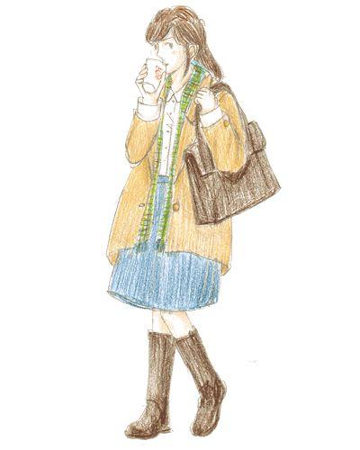 落ち着いた雰囲気のトートバッグにはベージュのコートで通勤スタイルに。カバンとブーツの色を合わせてまとまりよく。