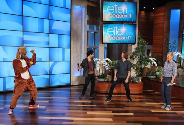 """Ylvis performed """"The Fox"""". Ellen and tWitch were very excited."""