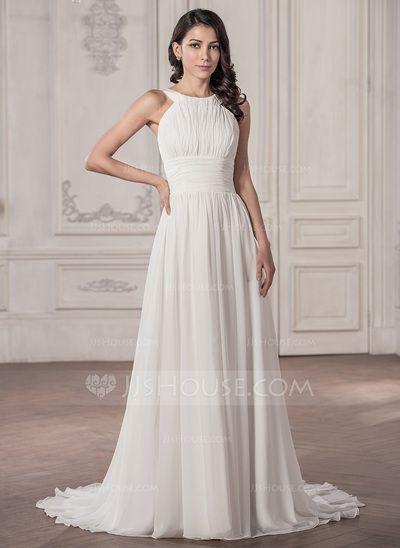 [US$ 139.99] A-Line/Princess Scoop Neck Court Train Chiffon Wedding Dress With Ruffle (002059576)