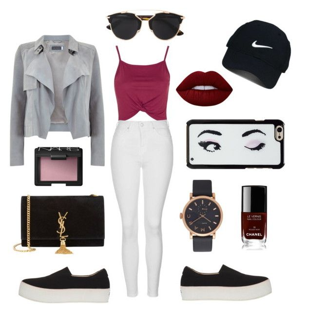 """A Day in New York "" by ashleeyneeo on Polyvore featuring Topshop, Mint Velvet, Marc Jacobs, Nike Golf, Opening Ceremony, Christian Dior, Lime Crime, Chanel, NARS Cosmetics and Yves Saint Laurent"