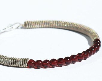 Guitar String Bracelet- Upcycled Silver and Garnet Red Bead Guitar String Jewelry, Guitar Jewelry, Music Jewelry, Guitar Player Gift