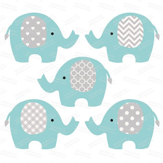Premium Elephant Clipart, Vectors & Digital Papers in Vintage Blue - Vintage…