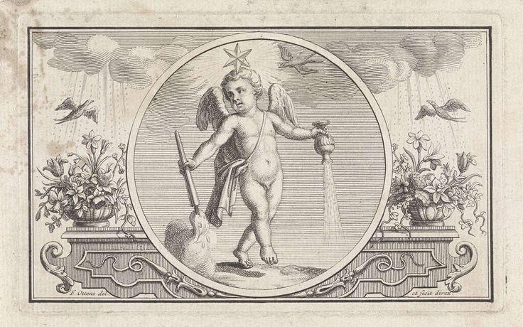 Frederik Ottens | Embleem met putto met ster, Frederik Ottens, 1717 - 1770 | Een putto met een ster op zijn hoofd. In zijn handen houdt hij een brandende toorts en een (regen?) strooier. Aan weerszijden duiven die door regen vliegen.
