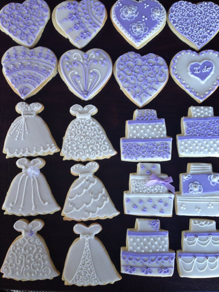 Wedding Shower Dress, Cake and Heart shapes in Violet & White colors with silver dragees accents.