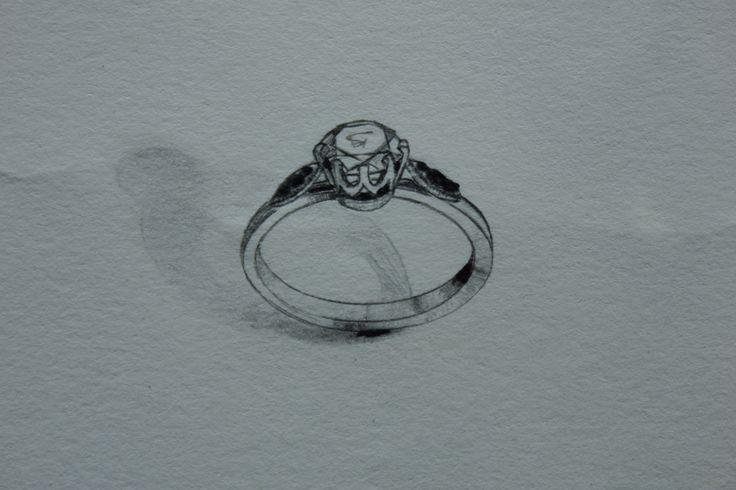 Handmade 750 white gold engagement ring. White diamond centre stone in crown setting. Black diamonds set down the shoulders.  #blackdiamond #whitediamond #engagement #romance #handmade #melbournedesigner
