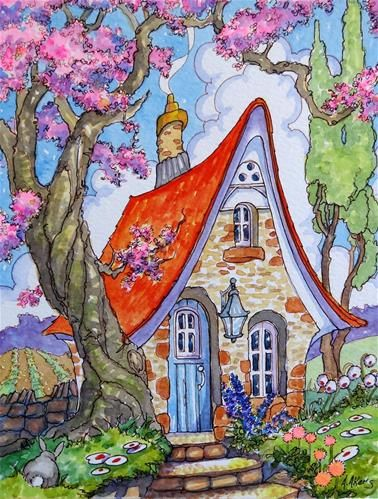 "Daily Paintworks - ""Divinely Downsized Storybook Cottage Series"" - Original Fine Art for Sale - © Alida Akers"