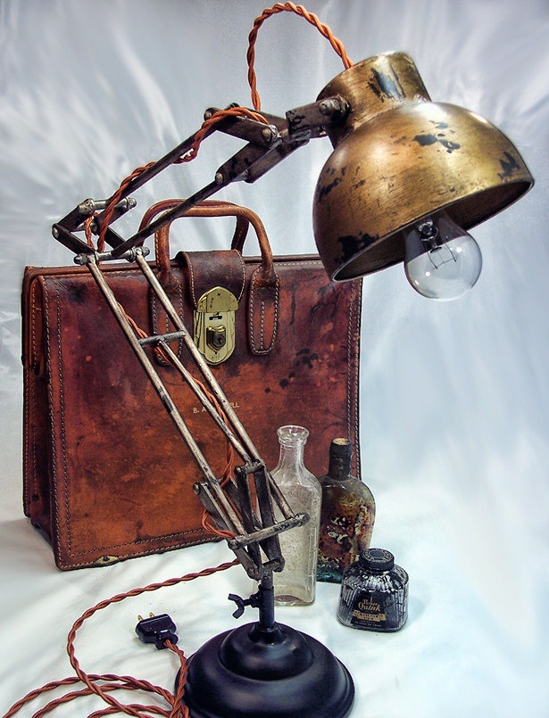 Architects Lamp - Steampunk - Industrial lamp - Desk Lamp - Table Lamp - Edison Light. $125.00, via Etsy.