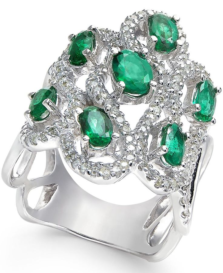 Emerald (2 ct. t.w.) and Diamond (5/8 ct. t.w.) Ring in 14k White Gold