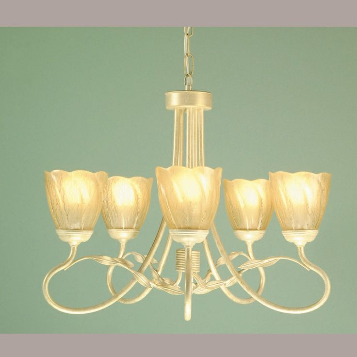 Lovely 5 arm chandelier in an ivory