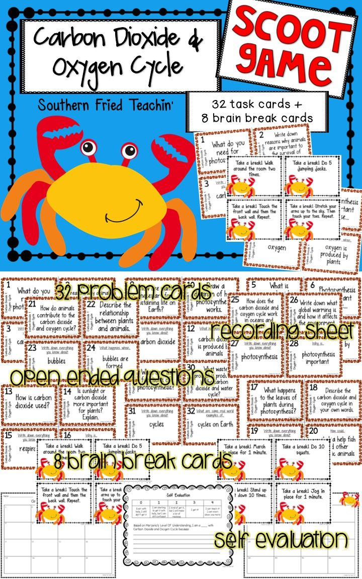 Task cards for a fun scoot game or science center on the carbon dioxide and…