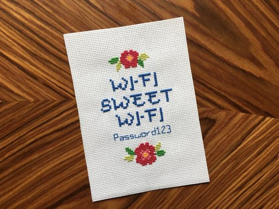 Wi Fi Cross Stitch  Wireless Password by thepinandneedle on Etsy