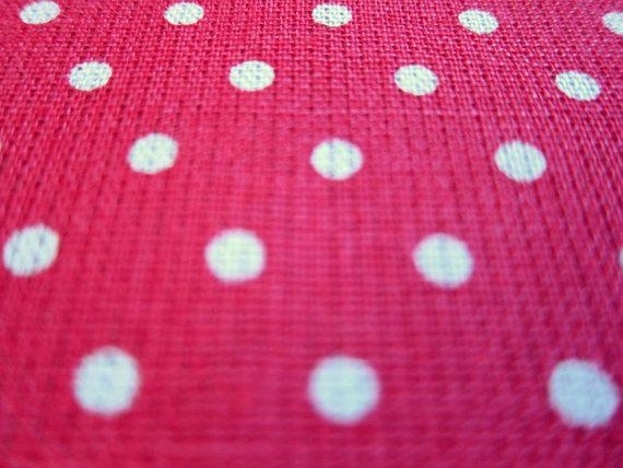 Japanese Cotton Linen Fabric - Polka Dots on Bright Pink - Half Yard