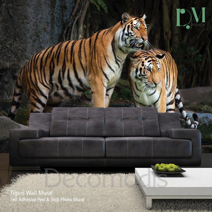 Tigers Wall Mural, Wild tiger Self Adhesive Peel