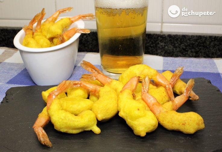 Un aperitivo viejuno que siempre triunfa. ¿Te atreves con estas Gambas a la gabardina? http://www.recetasderechupete.com/gambas-a-la-gabardina/18621/ No te olvides la cervecita!