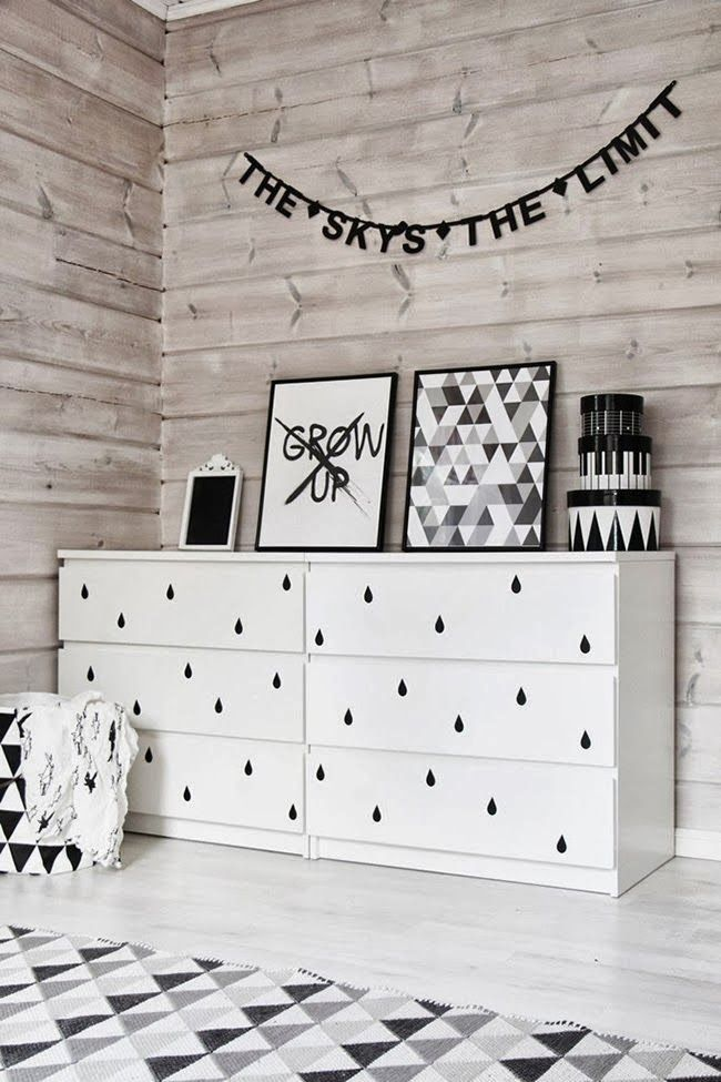 ikea malm drawers with adhesive wall dots